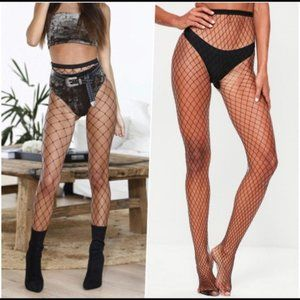 NEW Nordstrom sexy oversized fishnet tights black